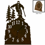 Skier and Pine Trees Metal Table Clock