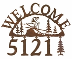 Skier Metal Address Welcome Sign