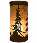 Skier Metal Cylinder Pillar Table Lamp