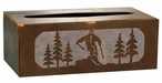 Skier Metal Flat Tissue Box Cover