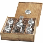 Skier Oval White Capitol Decanter & DOF Glasses Box Set with Pewter