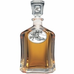 Skier Oval White Capitol Glass Decanter with Pewter Accents
