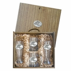 Skier Oval White Pilsner Glasses & Beer Mugs Box Set w/ Pewter Accents