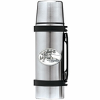 Skier Oval White Stainless Steel Thermos with Pewter Accent