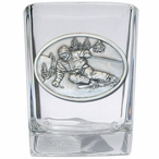 Skier Pewter Accent Shot Glasses, Set of 4
