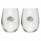 Skier Pewter Accent Stemless Wine Glass Goblets, Set of 2