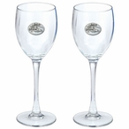 Skier Pewter Accent Wine Glass Goblets, Set of 2