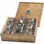 Skull and Bones Capitol Decanter & DOF Glasses Box Set with Pewter