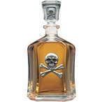 Skull and Bones Capitol Glass Decanter with Pewter Accents