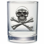 Skull and Bones Pewter Accent Double Old Fashion Glasses, Set of 2
