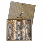 Skull and Bones Pilsner Glasses & Beer Mugs Box Set w/ Pewter Accents