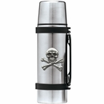Skull and Bones Stainless Steel Thermos with Pewter Accent