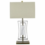 Sloan Metal and Marble Table Lamp with Off White Linen Shade