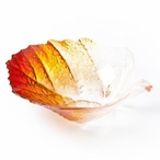 Small Autumn Yellow/Red Color Crystal Bowl by Mats Jonasson