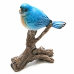 Small Blue Bird on Tree Statues, Set of 2