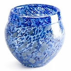 Small Blue Metallica Mouth Blown Crystal Bowl by Mats Jonasson
