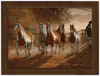 Small Coming Home Horses Framed Canvas Art Print Wall Art