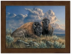 Small Distant Thunder Bison Framed Canvas Art Print Wall Art
