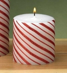Small Glitter Candy Cane Christmas Pillar Candles, Set of 6