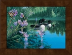 Small Iris Cove Loons Framed Canvas Art Print Wall Art