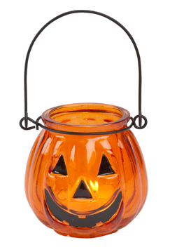 small jack o lantern pumpkin glass tea light candle holders set of 6 - Tea Light Candle Holders