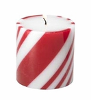 Small Peppermint Scented Christmas Pillar Candles, Set of 6