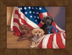 Small Puppies with the American Flag Framed Canvas Art Print Wall Art