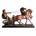 Small Roman Warrior with Chariot Statue