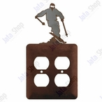 Snow Skier Double Metal Outlet Cover