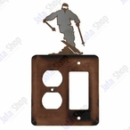Snow Skier Double Metal Outlet Cover with Single Rocker