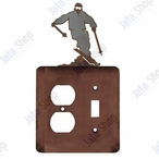 Snow Skier Double Metal Outlet Cover with Single Toggle