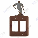 Snow Skier Double Rocker Metal Switch Plate Cover