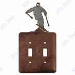 Snow Skier Double Toggle Metal Switch Plate Cover