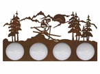 Snow Skier in the Mountains Four Light Metal Vanity Light