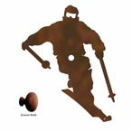 Snow Skier Metal Drawer Pull with Back Plate