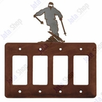 Snow Skier Quad Rocker Metal Switch Plate Cover