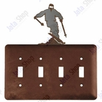 Snow Skier Quad Toggle Metal Switch Plate Cover