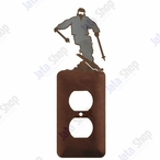 Snow Skier Single Metal Outlet Cover