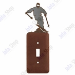 Snow Skier Single Toggle Metal Switch Plate Cover