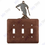 Snow Skier Triple Toggle Metal Switch Plate Cover