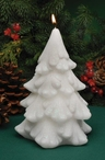 Snow White Glitter Tree Christmas Candles, Set of 3