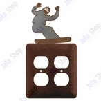 Snowboarder Double Metal Outlet Cover