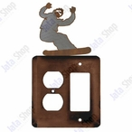 Snowboarder Double Metal Outlet Cover with Single Rocker