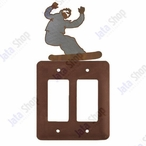 Snowboarder Double Rocker Metal Switch Plate Cover