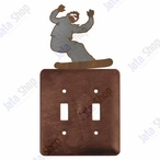 Snowboarder Double Toggle Metal Switch Plate Cover