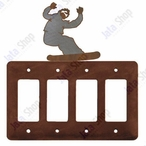 Snowboarder Quad Rocker Metal Switch Plate Cover