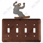 Snowboarder Quad Toggle Metal Switch Plate Cover