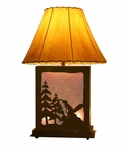 Snowboarder Scenic Metal Table Lamp with Night Light