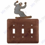 Snowboarder Triple Toggle Metal Switch Plate Cover