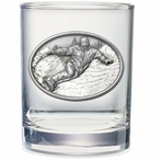 Snowboarder White Pewter Accent Double Old Fashion Glasses, Set of 2